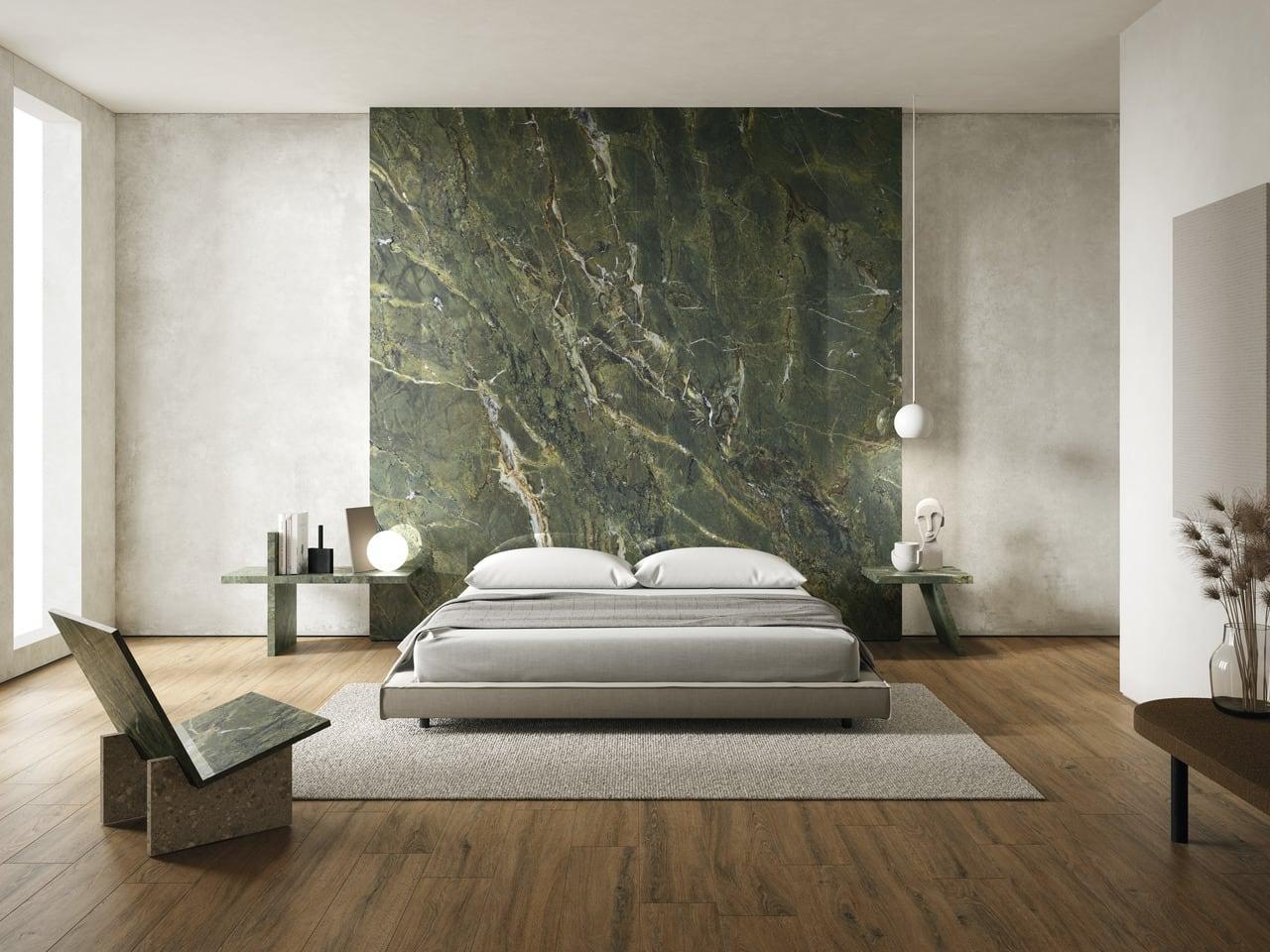 Gạch Marble Green ốp mảng nhấn phòng ngủ