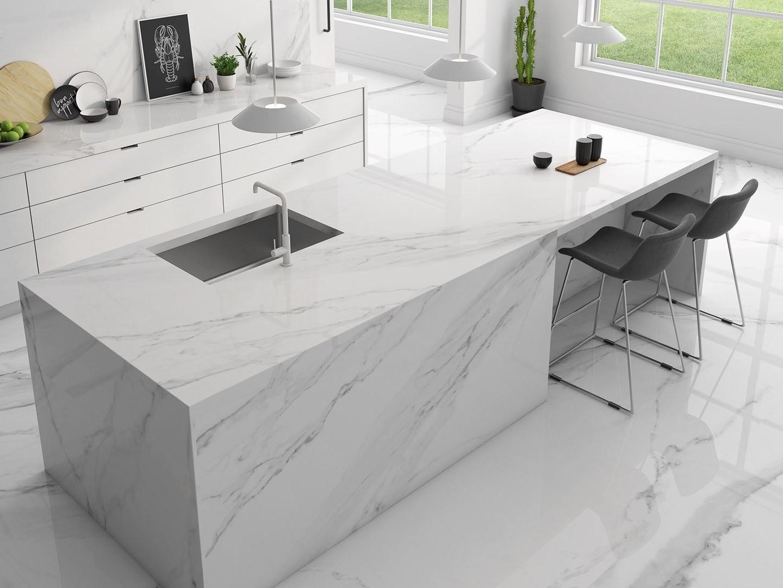 Gạch Marble trắng ốp lát nhà bếp