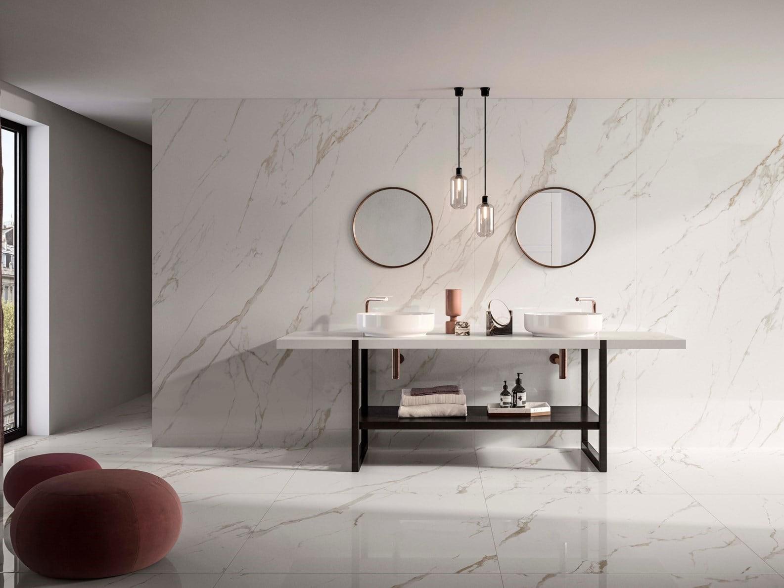White Marble ốp tường nhà tắm