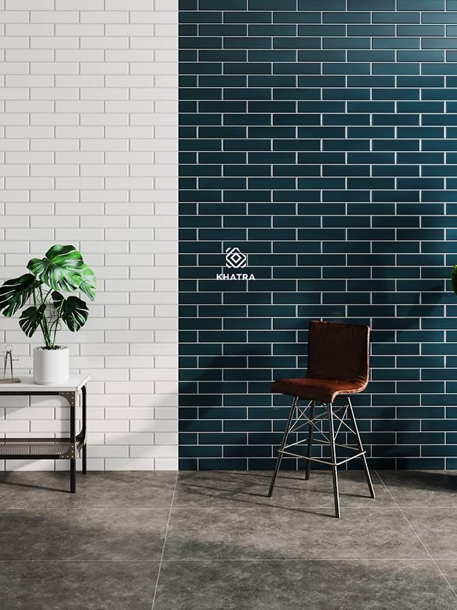 Phối gạch thẻ 75x300 ốp tường với gạch Granite 600x1200 lát nền