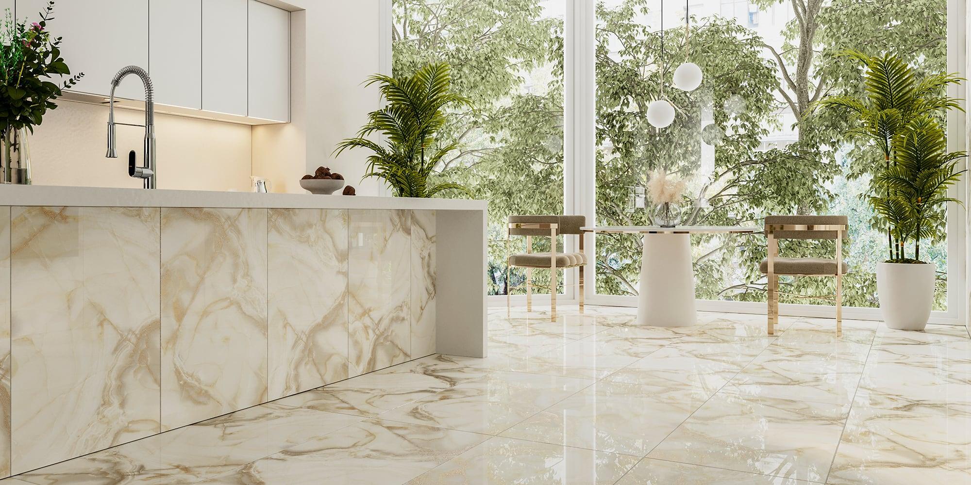 Phối cảnh gạch Marble nhũ vàng KHTR61205