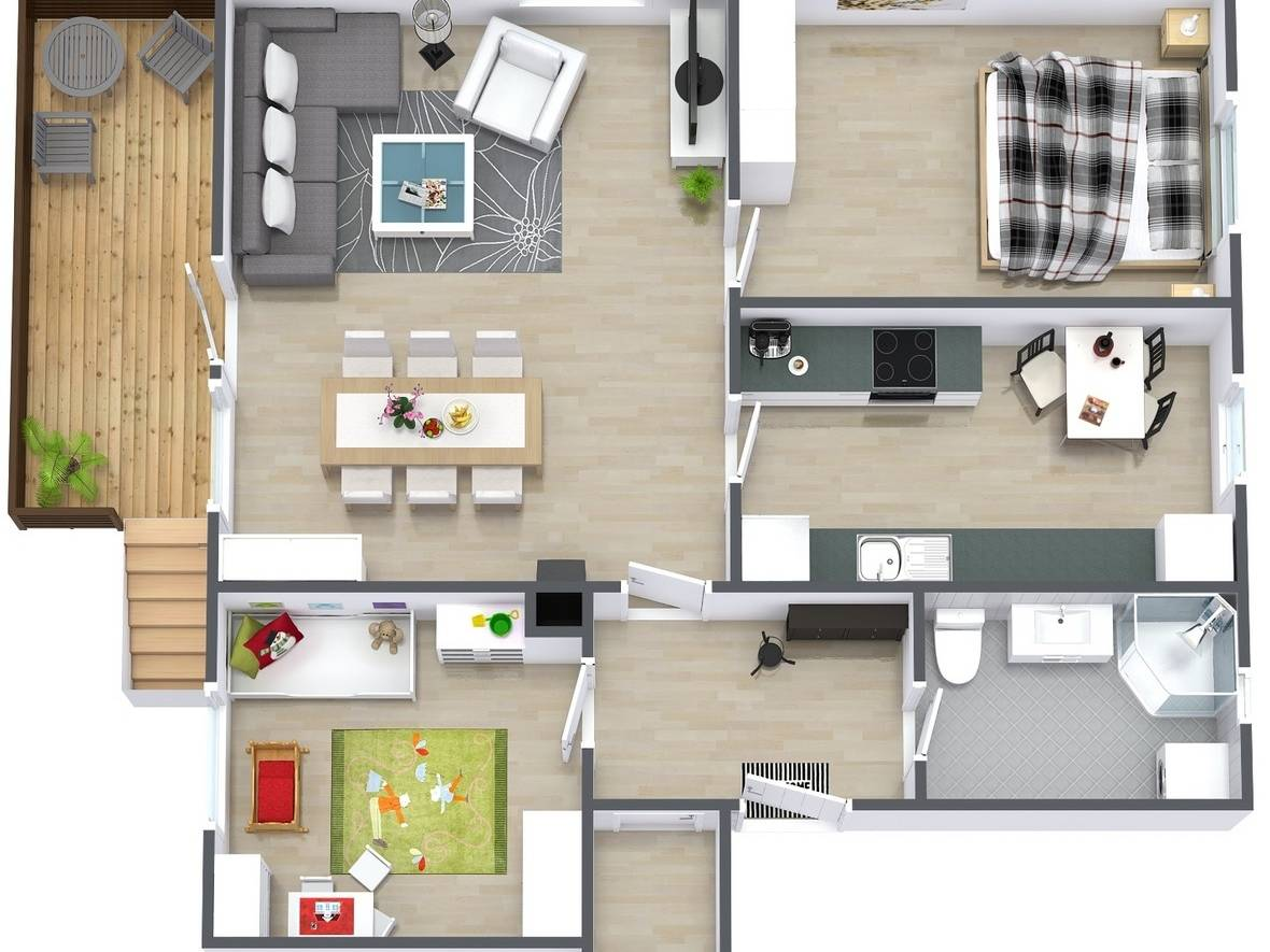 Bố trí mặt bằng căn hộ 2PN với ban công