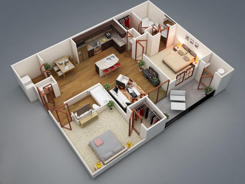 Bố trí mặt bằng căn hộ 2PN tận dụng ánh sáng mặt trời