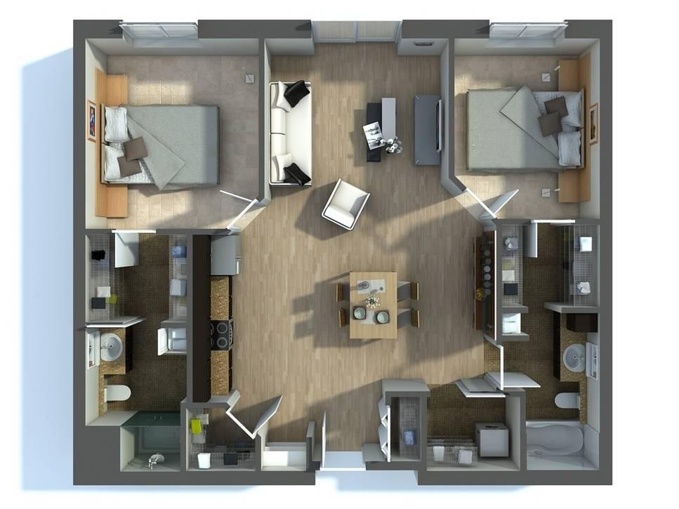 Bố trí mặt bằng căn hộ 2PN