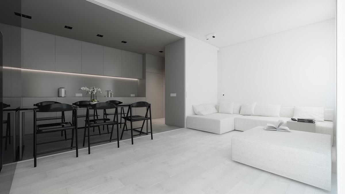 Căn hộ chung cư sử dụng màu Light Grey và White cho phong cách tối giản