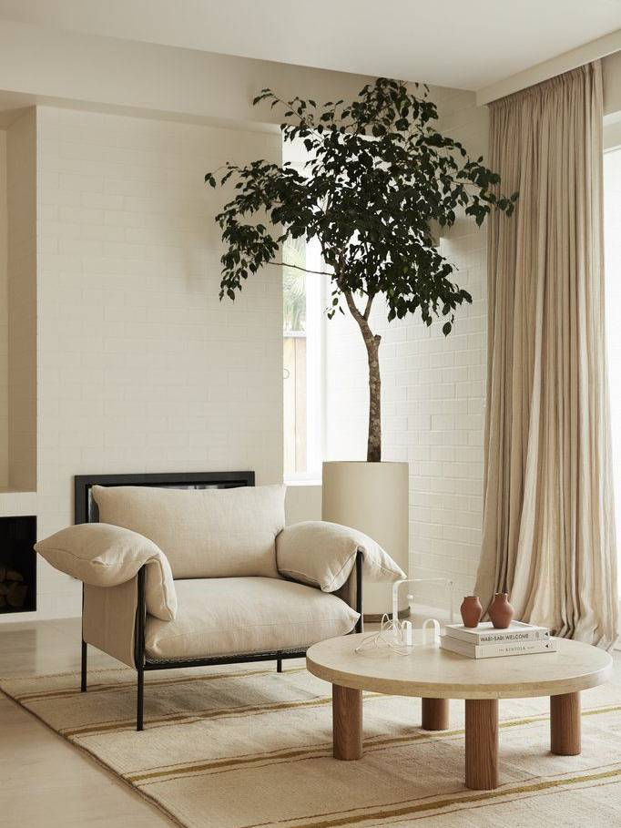 Sử dụng thảm lót và cây lớn làm điểm nhấn