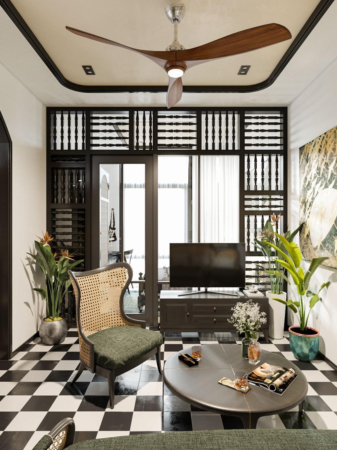 Sử dụng gạch bông trắng đen trong nội thất Indochine