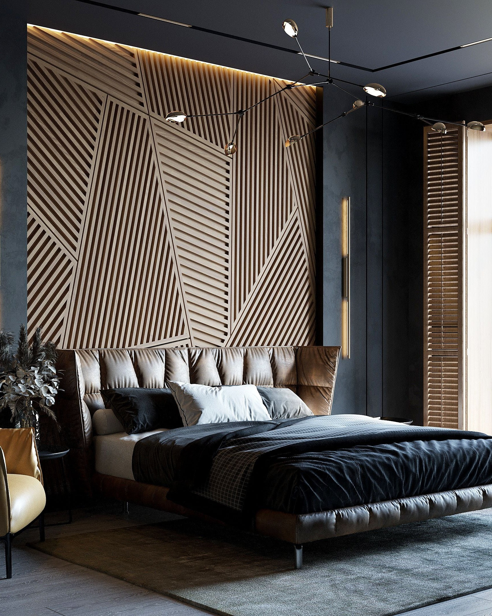 Thiết kế phòng ngủ không gian mở với tông đen vàng
