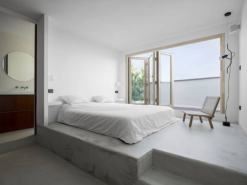 Thiết kế phòng ngủ tông bê tông cho căn hộ 2PN