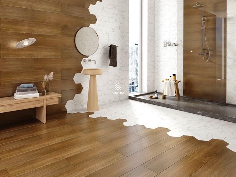 Phối gạch vân gỗ W99007 và lục giác 3D020