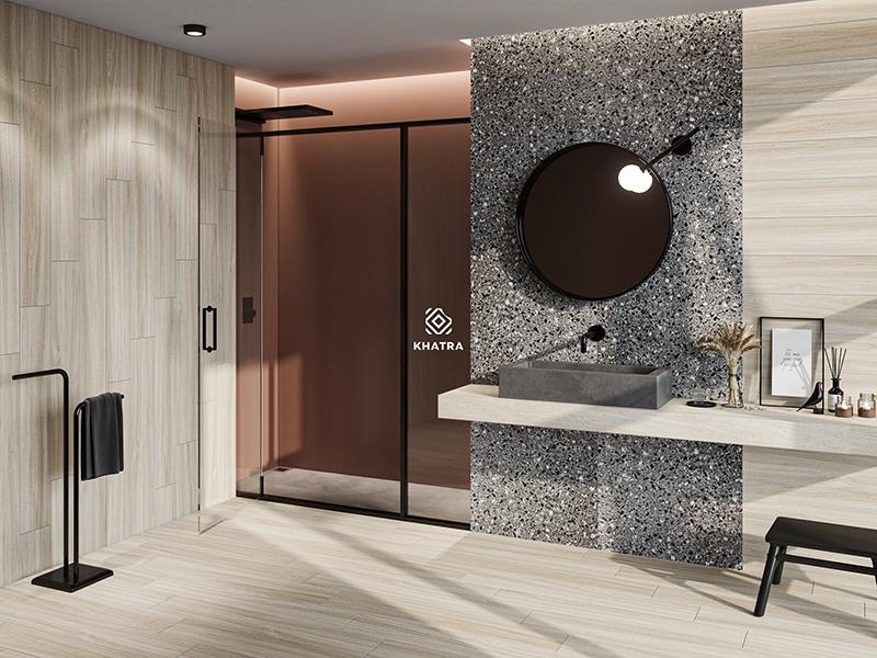 Phối gạch gỗ W96007 và terrazzo KT-6005 ốp lát nhà tắm