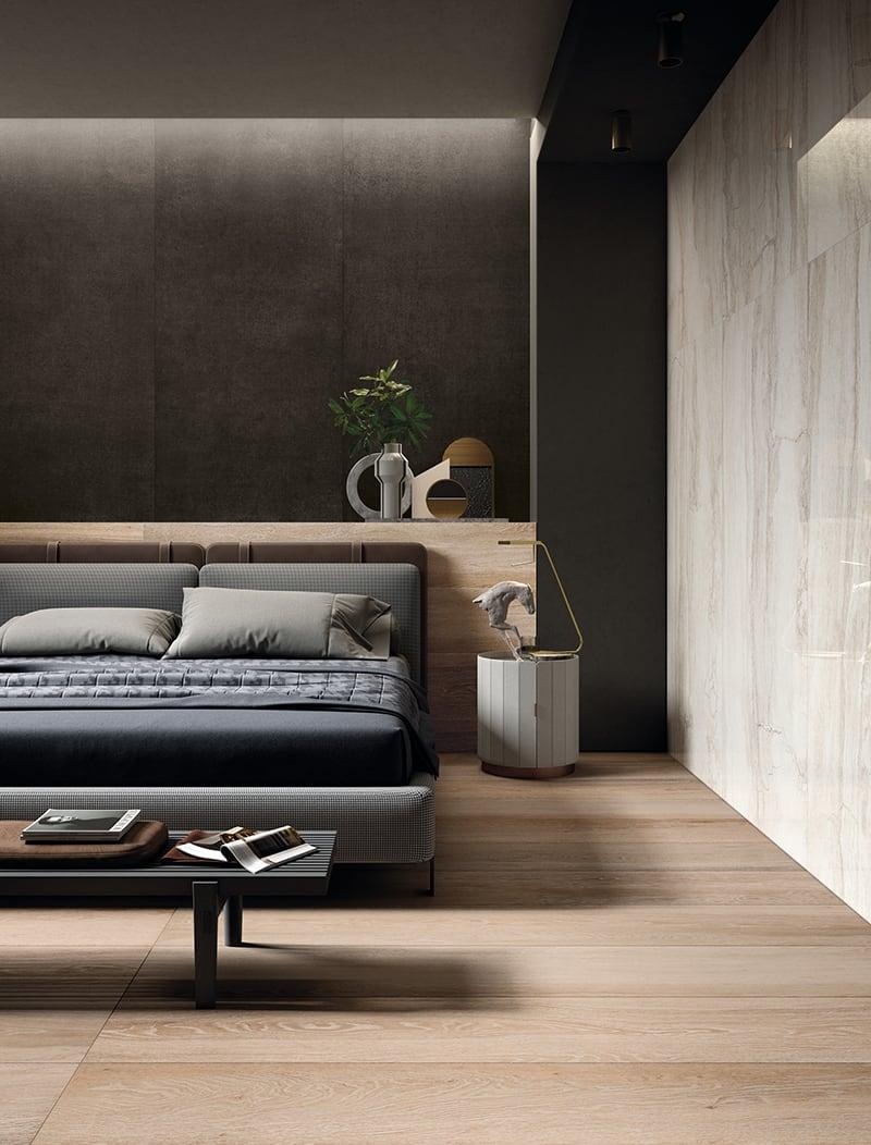 Phòng ngủ ốp tường bằng gạch bê tông