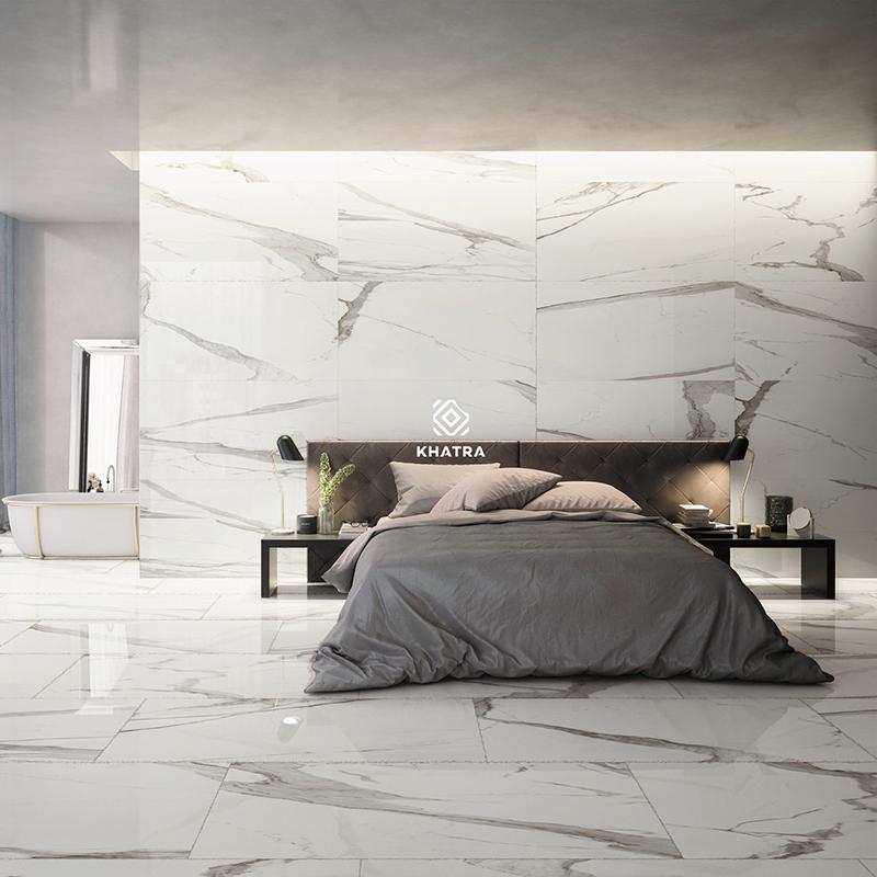 Gạch Marble vân khói ốp tường phòng ngủ