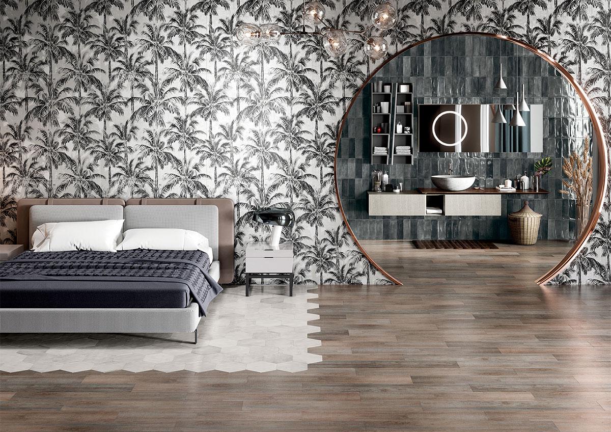 Gạch tranh 3D ốp tường phòng ngủ