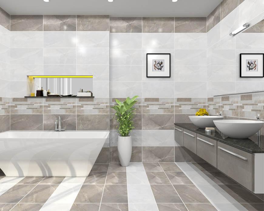 Mẫu nhà tắm sử dụng gạch men theo bộ ốp lát