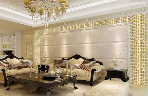Gạch mosaic ốp tường phòng khách