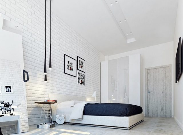 phối màu gạch ốp tường phòng ngủ