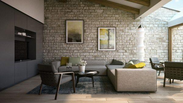 Gạch ốp tường phòng khách bằng đá thô