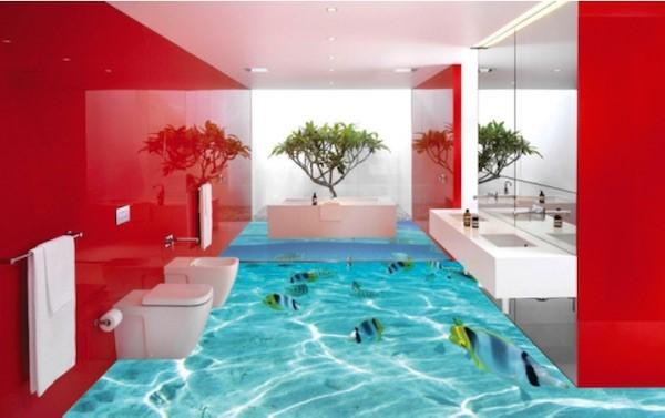 Gạch ốp tường phòng tắm 3D
